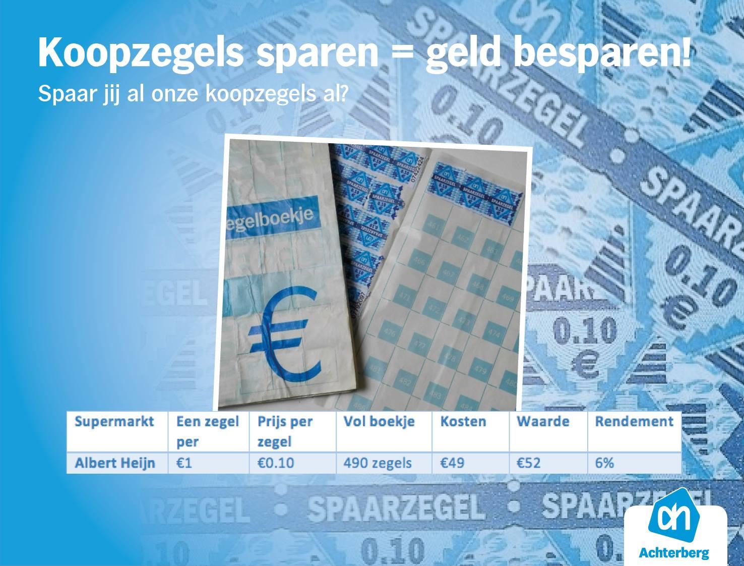 Koopzegels sparen = geld besparen!