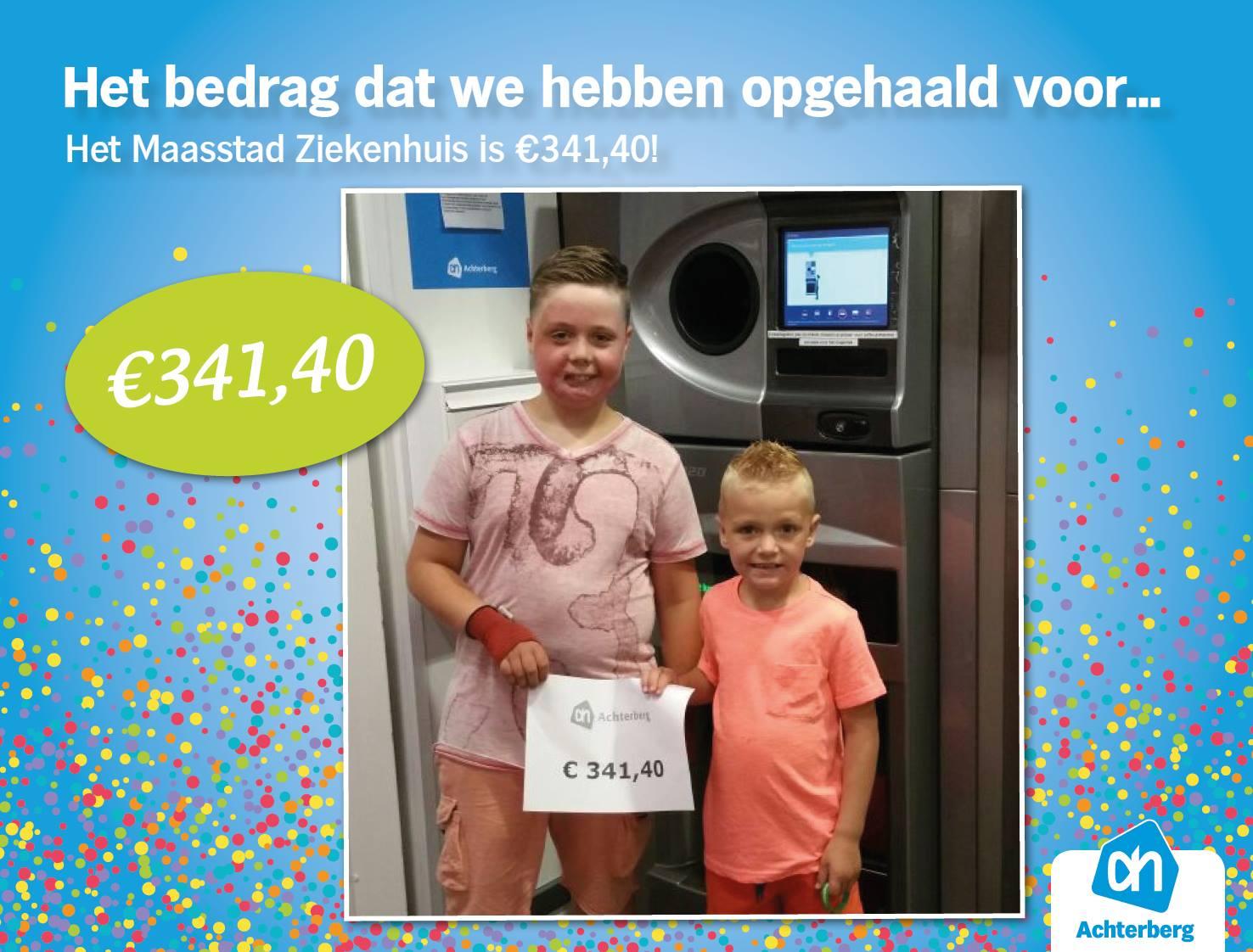 Het bedrag dat we hebben opgehaald voor… Het Maasstad Ziekenhuis is € 341,40!