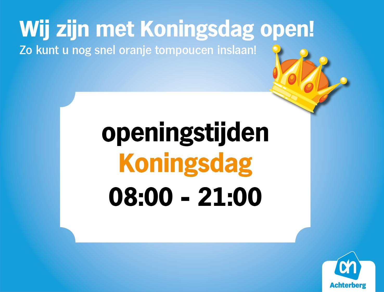 Wij zijn geopend met Koningsdag!