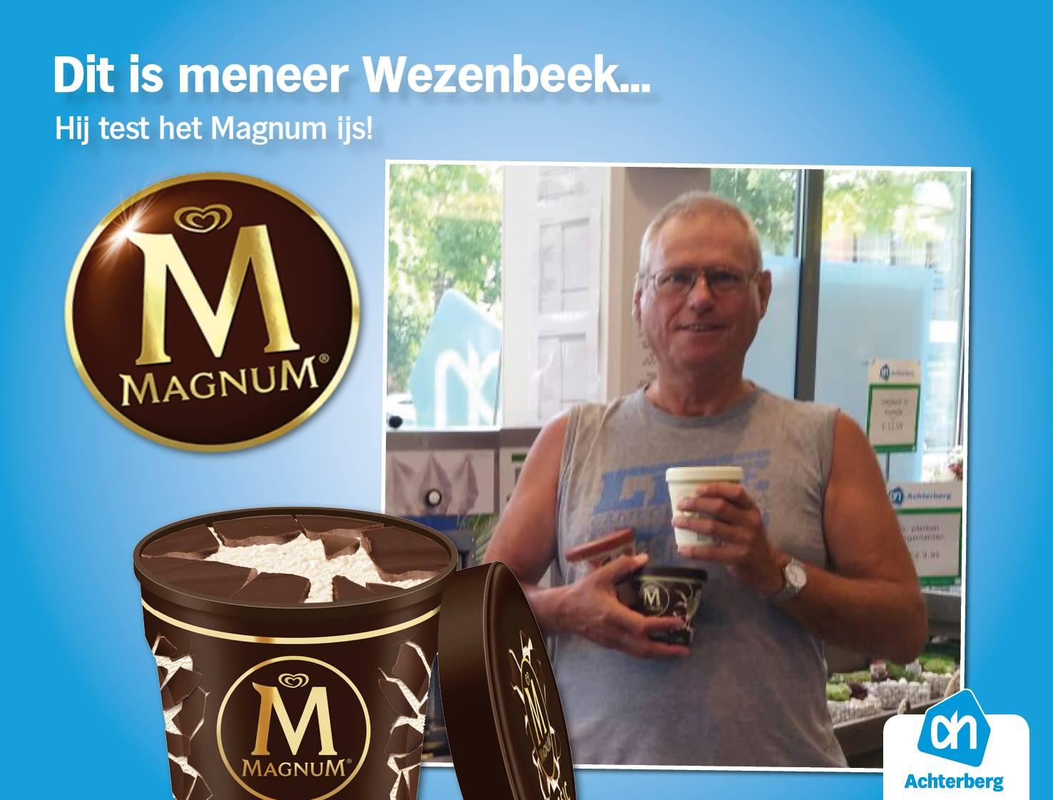 Dit is meneer Wezenbeek… Hij test het Magnum ijs!