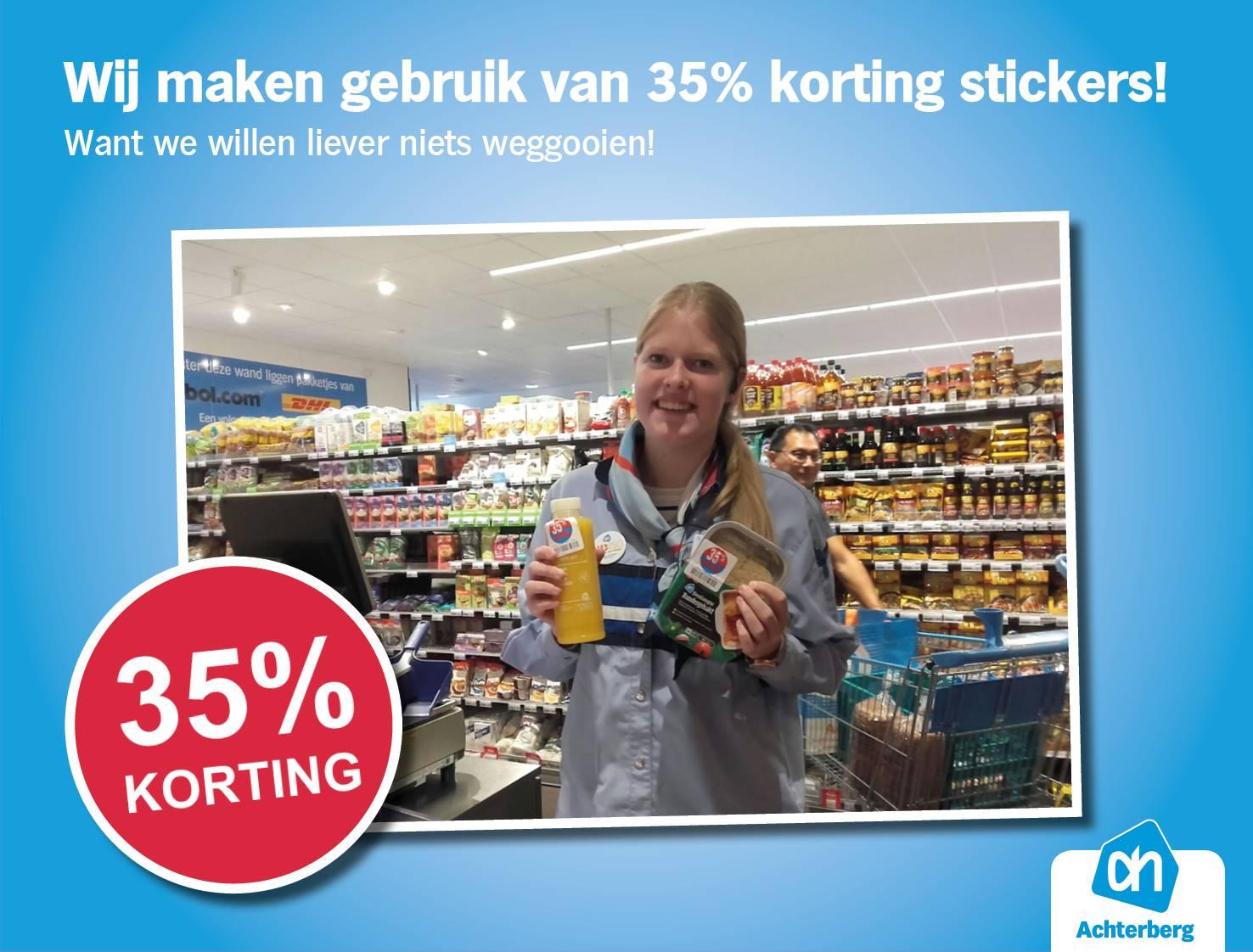 Wij maken gebruik van 35% korting stickers!