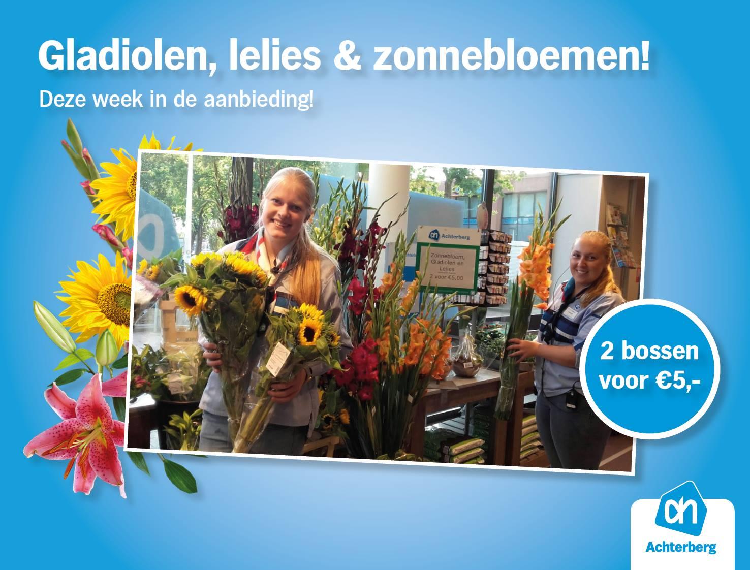 Prachtige gladiolen, lelies en zonnebloemen!