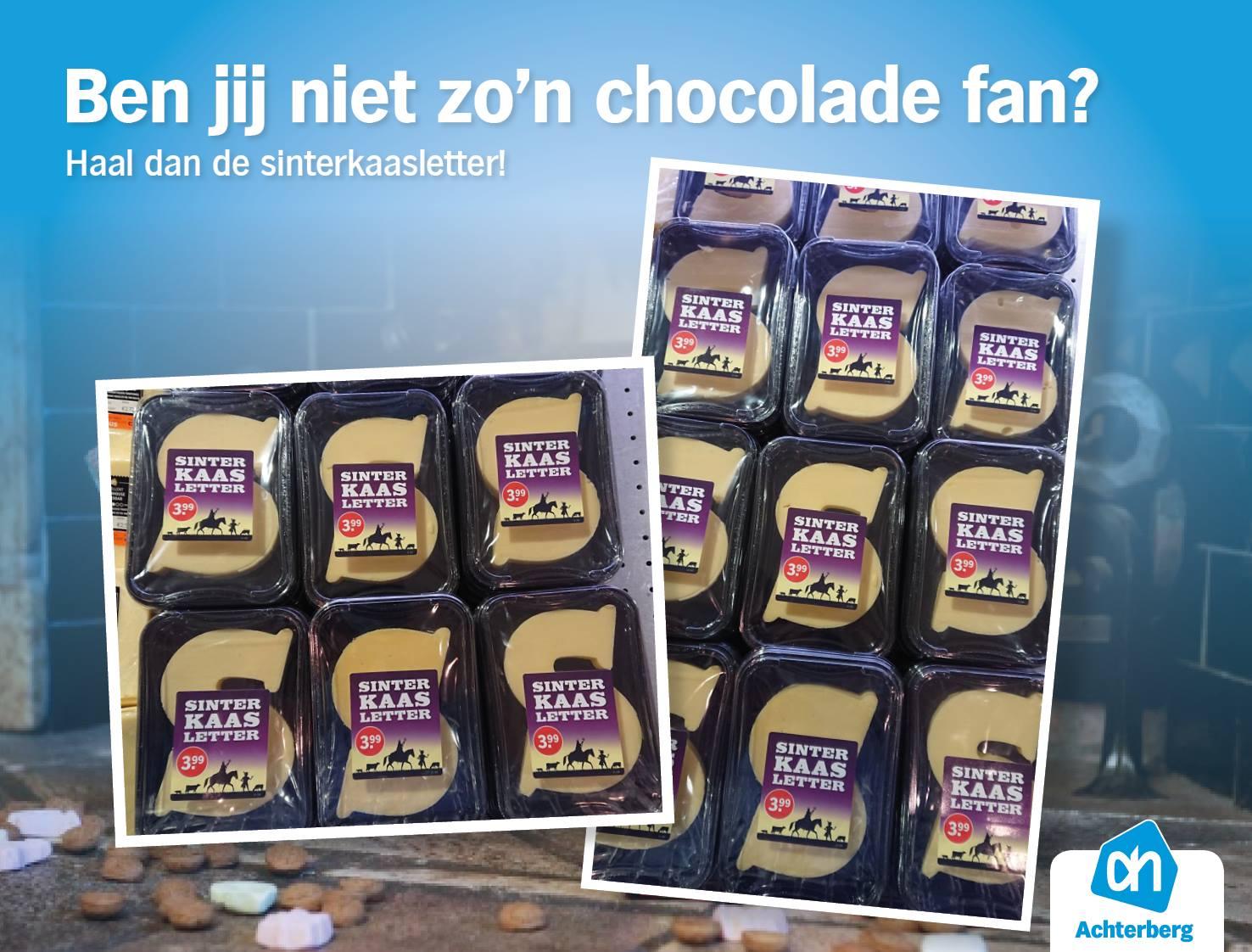 Ben jij niet zo'n chocolade fan! Haal dan de sinterkaasletter!
