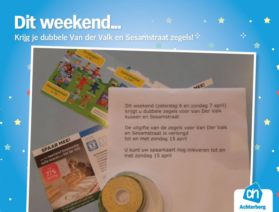 Dit weekend dubbele zegels voor Van der Valk kussens en sesamstraatartikelen