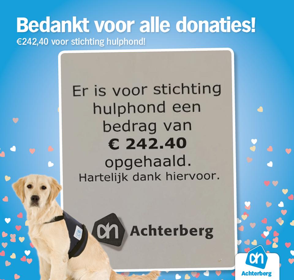 Er is voor stichting hulphond een prachtig bedrag opgehaald, namelijk €242,40.