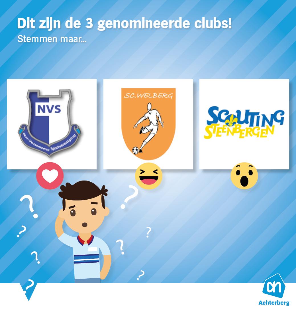 Dit zijn de 3 genomineerde clubs!
