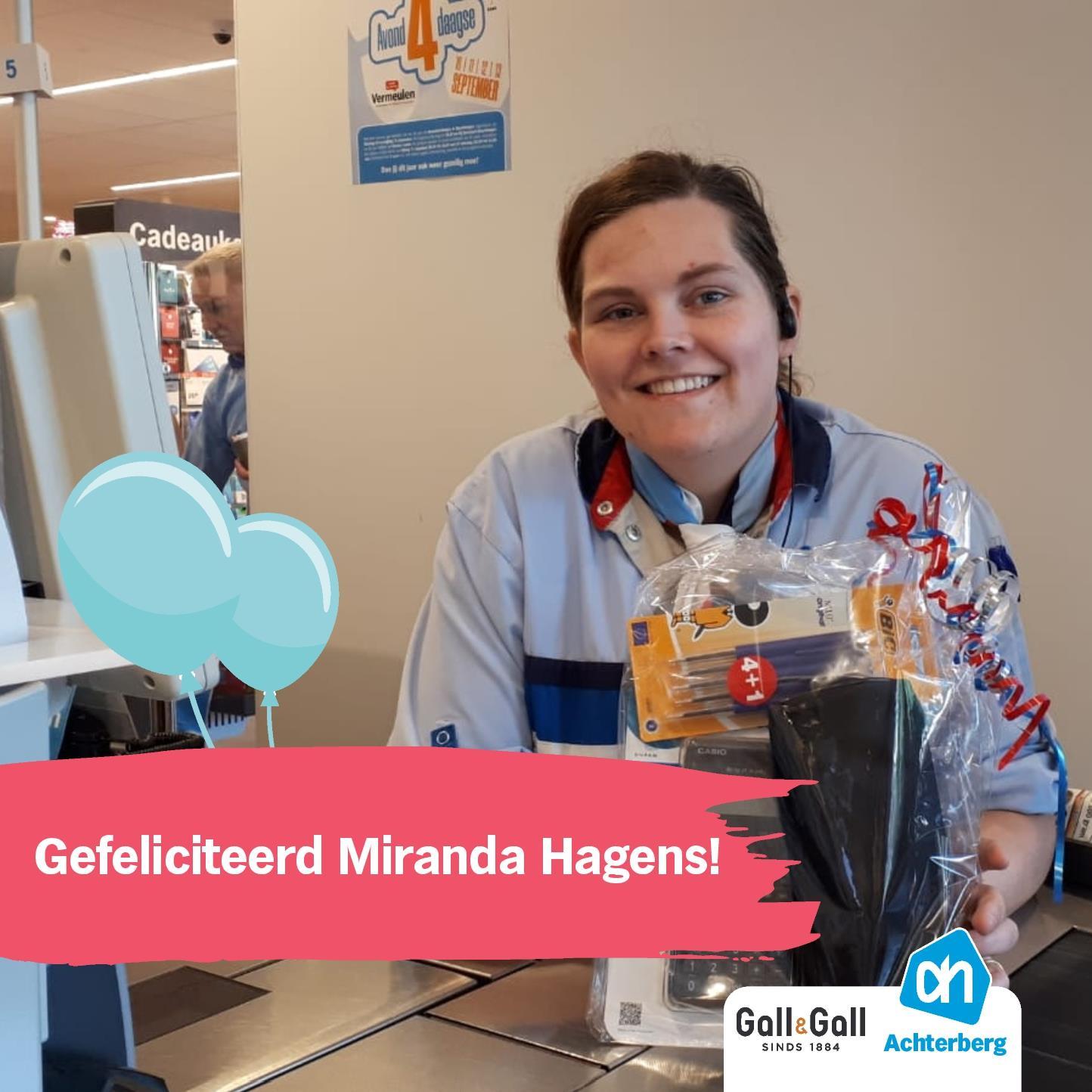 Gefeliciteerd Miranda Hagens!